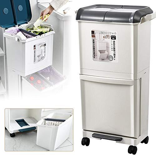 GBHJJ Cubo Basura Reciclaje Vertical, Papelera de Reciclaje de Pedales con Compartimentos Dobles, 42L de Capacidad de Basura, para Dormitorio, BañO, Cocina, JardíN,Grey