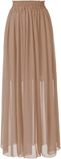 Topdress Women's Long Beach Skirt Elastic Waistband Chiffon Maxi Skirts Maternity Outfits
