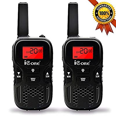 iCore Walkie Talkies for Kids, 22 Channel Long Range 2 Way Radio 3 Miles Kids Toys, Best Gifts for Boys Girls Outside Adventure, Camping, Hiking, Children Birthday Present Outdoor Games by