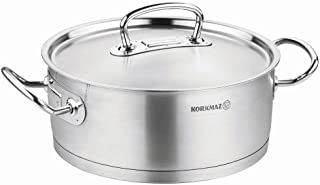 Korkmaz Proline Stainless Steel Low Casserole Saute Pot Stockpot With Lid and Handles Silver
