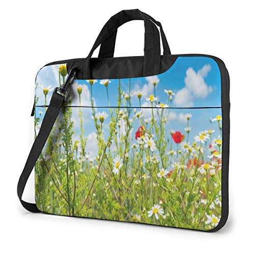Blue Sky Clouds and Daisies Flower Floral Laptop Bag Case Sleeve Briefcase Computer Organizer for Women Men 13'