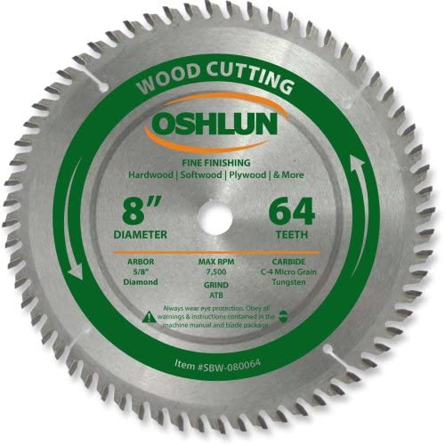 40% OFF Cheap Sale Oshlun SBW-080064 Surprise price 8-Inch 64 Tooth ATB w Saw Blade Fine Finishing