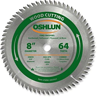 Oshlun SBW-080064 8-Inch 64 Tooth ATB Fine Finishing Saw Blade with 5/8-Inch Arbor (Diamond Knockout)