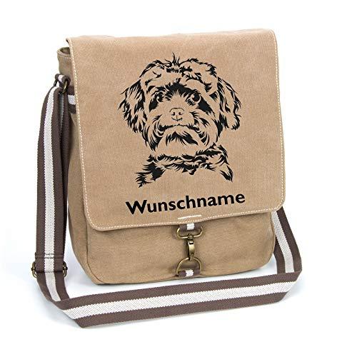 Bolonka Zwetna Canvas Schultertasche Umhängetasche Tasche mit Hundemotiv und Namen personalisiert