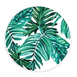 Round Beach Towel Tropical Microfiber Palm Leaves Light Weight...
