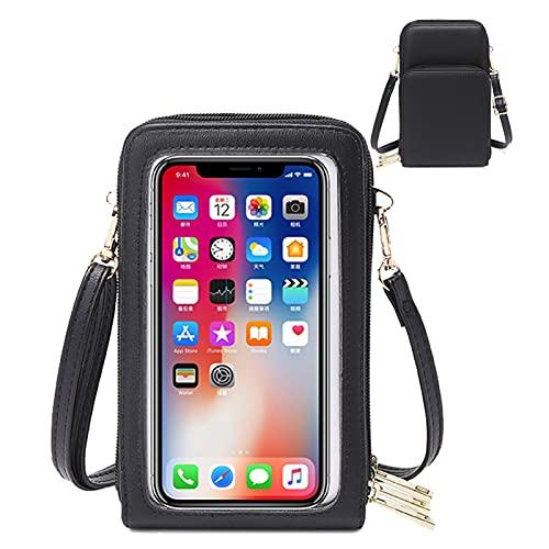 HAIWILL Handy Umhängetasche Leder Handytasche Kleine Crossbody Geldbörse Mini Handytasche zum Umhängen Touchscreen Handy für iPhone 12/11/XR/Xs, Samsung Galaxy S10/S9/S8, Handy bis zu 6.5''