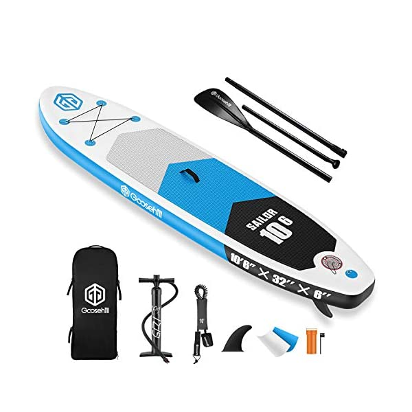"""Goosehill Inflatable Stand Up Paddle Board, Premium SUP Package, 10' Long 32"""" Wide 6"""" Thick, Patterns Open for Customization"""
