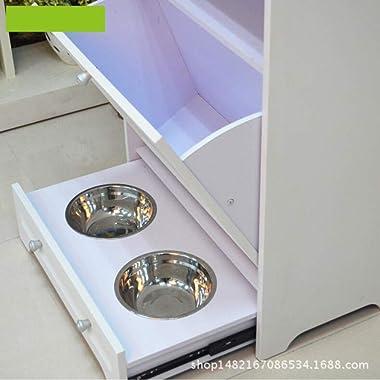 FUFU Side Tables Pet Feeder Station,Pet Food Storage Cabinet Pet Toy Feeding Storage Organizer Home Dog Food Pantry Double Do