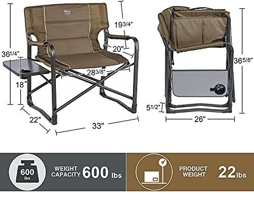 TIMBER RIDGE Oversized Directors Chairs with Side Table, Heavy Duty Folding Camping Chair up to 600 Lbs Weight Capacity (Brown)