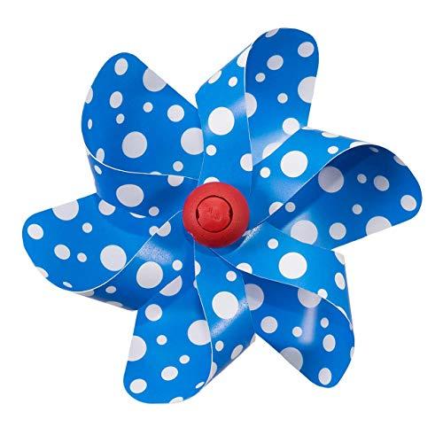 CIM Fahrrad-Windmühle - Moulin Velo 12cm - Blue Dots - Windrad Ø12cm - Windspiel für alle Fahrräder, Roller, Dreiräder, Laufräder, Kinderwagen und Buggys