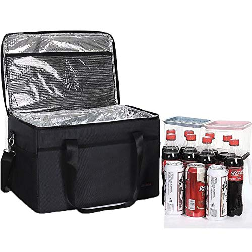 SunAurora Bolsa isotérmica plegable de 10 litros, bolsa aislante, bolsa de pícnic, bolsa de hielo a prueba de fugas para exteriores, camping, coche, oficina (negro)