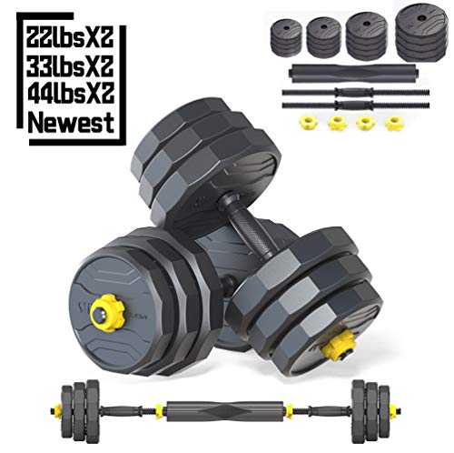 IRUI Adjustable Fitness Dumbbells Set, Free Weights Dumbbells with Connecting Rod Used As Barbell for Gym Work Out Home Training Suitable for Men and Women 44Lbs /20KG (2Pieces/Set)