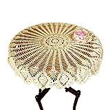 Mantel redondo de encaje vintage, tejido de ganchillo en algodón, hecho a mano, de 90 cm, de Yizunnu., algodón, beige, 90cm round