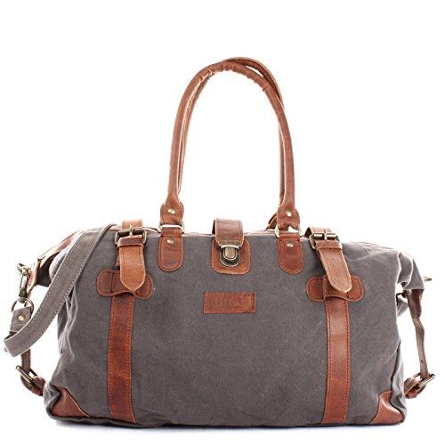 LECONI Shopper aus Canvas + Leder im Vintage-Look kleiner Weekender Handgepäck Reisetasche Sporttasche Fitnesstasche Unisex für Damen + Herren 45x30x20cm grau LE2008-C