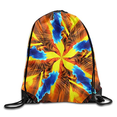 Borse da palestra Zaini Casual, Gym Drawstring Bags Kaleidoscope Tiger Gold Draw Rope Shopping Travel Backpack Tote Student Camping Fashion