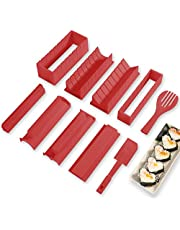 Sushi Making Kit Deluxe Edition with Complete Sushi Set 10 Pieces Plastic Sushi Maker Tool Complete with 8 Sushi Rice Roll Mold Shapes Fork Spatula DIY Home Sushi Tool (Red)