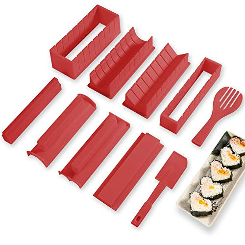 Sushi Making Kit Deluxe Edition with Complete Sushi Set 10 Pieces Plastic Sushi Maker Tool Complete with 8 Sushi Rice Roll Mold Shapes Fork Spatula DIY Home Sushi Tool Red