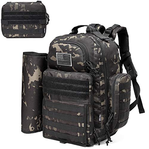 Diaper Bag Backpack for Dad, DBTAC Large Baby Nappy Bag for Men w/Changing Mat, Insulated+Wipe Pockets, Stroller Straps, Black Camo