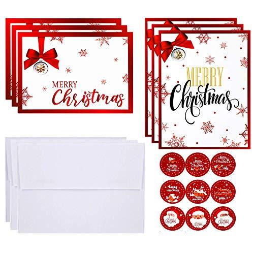 24 Set Biglietti di Auguri di Natale Carte di Nota di Festa Rosse con Adesivi Sigillo e Buste per...