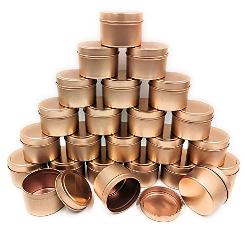 NRANSON Candle Jars for Making Candles, 24 Pack Metal Candle Tins With Lids, DIY Candle Containers for Candle Making, Arts & Crafts, Storage & More (Rose Gold, 5OZ)