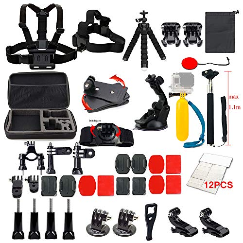 Lifelimit Accessories Starter Kit Compatible with Gopro Hero 9/8/Max/7/6/Fusion/5/Session 4/3/2/HD Black White Silver DJI AKASO APEMAN Campark SJCAM Action Camera