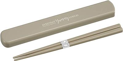 OSK 弁当用箸 EVERYDAY Yummy LUNCH! グレー 箸/約19.5cm 引きフタ箸箱セット (日本製) HS-16