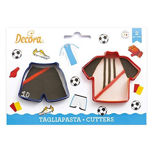 Kit 2 TAGLIAPASTA Calcio Football a Forma di Maglia Maglietta e Pantaloncino - formine Taglia Biscotti per Creare Fantastici Dolci e decori Torte - Ideale per Decorazioni in Pasta di Zucchero
