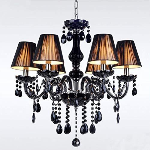 Lámpara de araña de cristal negro de tela antigua, luces colgantes de mesa de comedor de tela metálica E14, luz de techo de cocina de sala de estar LED vintage, comedor, dormitorio, villa rústica