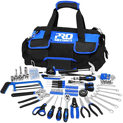 198-Piece General Household Hand Tool Set, PROSTORMER Multi-Purpose Basic Home Repair Tool Kit with Easy Carrying Storage Bag for DIY and Home Maintenance