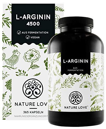 NATURE LOVE® L-Arginin - 365 vegane Kapseln - Hochdosiert: 4500mg L-Arginin HCL (=3750mg reines Arginin) je Tagesdosis. Pflanzliche Fermentation. Hergestellt in Deutschland