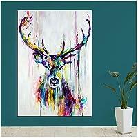 抽象的なモダンな家単色鹿キャンバス壁画装飾絵画壁画油絵スプレー絵画壁画壁アート60x80cm(24x32in)