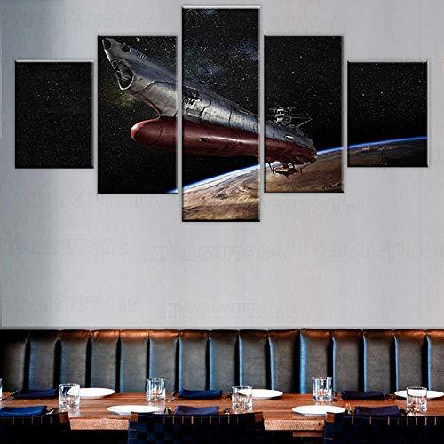 yuanjun Wanddekoration Design Wandbild 5 Teilig Premium Poster Stilvolles Set Mit Passenden Bilder Als Wohnzimmer Deko Bilderrahmen Leinwandbild Raumschlachtschiff Yamato