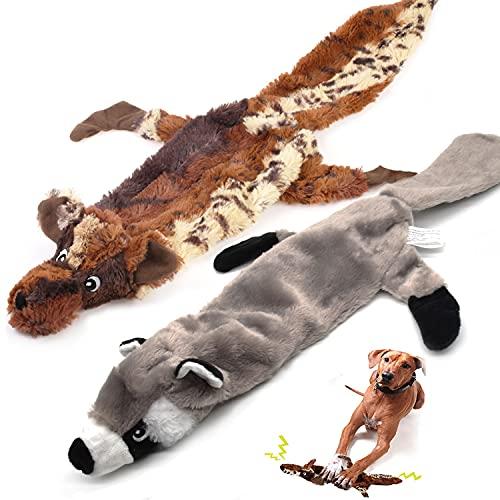 Aidiyapet Lot de 2 Jouets sonores en Peluche, pour Chiens, Jouets plissés à mâcher durables pour Chiens de Moyenne et Grande Taille, modèle Loup et Raton Laveur