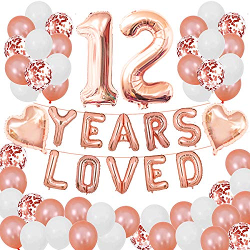 12 Years Loved Rose Gold Theme Kit for 12ND Birthday or Anniversary Party Decorations Supplies Rose Gold Latex Confetti Balloons 16inch Years Loved Foil Balloons 32inch Number 12 Rose Gold Succris