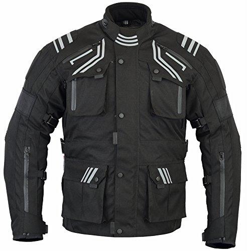 Bikers Gear la glorider chaqueta de Moto impermeable y transpirable con ventilación ce-1621–1, color negro, talla S