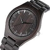 OIFMKC Reloj de Madera Relojes de Madera Retro para Hombre, Reloj Informal para Hombre, de Madera de ébano Claro, Banda Natural Completa, Relojes de Pulsera de Cuarzo para Hombre