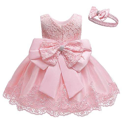 Cichic Baby Mädchen Kleid Taufkleid Spitze Prinzessin Kleid Tutu Kleid Mädchen Festlich Hochzeit Geburtstag Partykleid Blumenmädchenkleid Festzug Babybekleidung (0-3 Monate, Rosa)