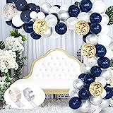 SPECOOL 102pcs Ballons en Latex Bleu, Argent Métallique, Ballons de Confettis Blancs et Dorés Parfaits pour d'Anniversaire la Décorations de Fête et Accessoires pour Anniversaire ou Marriage
