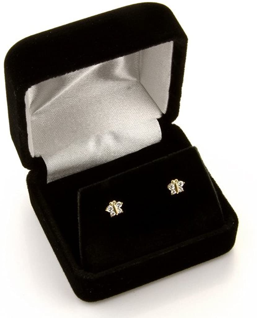 14k White Gold Round Solitaire Basket Set Stud Earrings with Screw Back - 7 Different Size Available