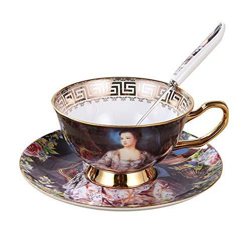 PPuujia Taza de té de cerámica Copa de café de cerámica platillo Cuchara Conjunto Camelia decoración patrón Taza Taza Taza de Porcelana Set avanzado Taza de té café Espresso Taza (Color : D)