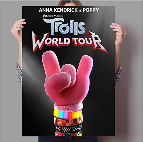 PCCASEWIND Rahmenlose Malerei,Fantasy Song Und Tanz Anime Troll World Tour Konzert Home Wand Kinderzimmer Dekorative Kunst Poster 50X70Cm,A-1201