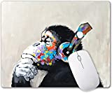 Oil Painting Art Thinking Gorilla Animal Mouse Pad Gaming Mouse Pad Office Mousepad Nonslip Rubber Backing Design Personalized