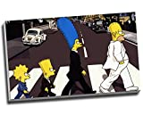 Leinwanddruck, Motiv Die Simpsons Abbey Road Pop Art, 76,2
