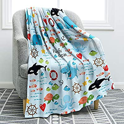 "Jekeno Ocean Animals Throw Blanket Sharks Turtles Soft Comfortable Blanket for Sofa Chair Bed Office Travelling Camping 50""x60"""