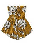 SweatyRocks Women's Off Shoulder Floral Print Playsuit Strapless Romper Short Jumpsuit Ginger Medium