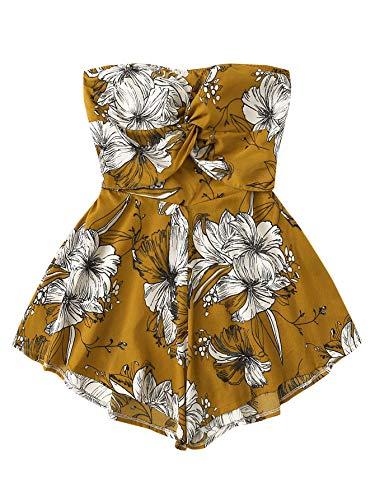 SweatyRocks Women's Off Shoulder Floral Print Playsuit Strapless Romper Short Jumpsuit Ginger Large