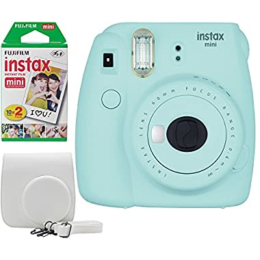 Fujifilm Instax Mini 9 Instant Camera Bundle w/Case and Film (Ice Blue)