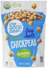 18 ounce bag Gluten-free, nut free, soy-free, Vegan All Natural Roasted Chickpea Snacks Lightly dusted with coarse salt Dry roasted slowly, and then tossed with tasty spices