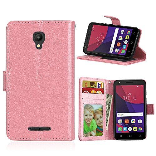 Alcatel One Touch Pixi First Hülle, SATURCASE Glatt PU Lederhülle Magnetverschluss Flip Brieftasche Schutzhülle Handy Tasche Hülle mit Standfunktion für Alcatel One Touch Pixi First 4.0