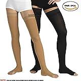 pedimendtm Open Toe muslo Alto medias de compresión para hombres y mujeres–banda de compresión con silicona–reducir las varices–eficaz alivio de tensión y dolor muscular–Foot Care